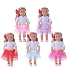 Dolls clothes American New white T-shirt + lace cake skirt Dress toy accessories fit 18 inch Girl and 43 cm baby c740 1 set 18 american girl doll clothes and accessories white shirt and flower trousers 18 inch american girl dolls clothes ingbaby