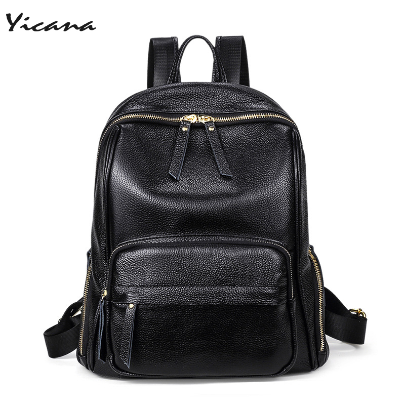 все цены на Yicana 2018 spring / summer new style 4 colors genuine leather backpack cowhide lychee stripes bags popular schoolbag