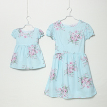 Parent child fashion summer plus size clothes for mother and daughter 100 cotton female child 0