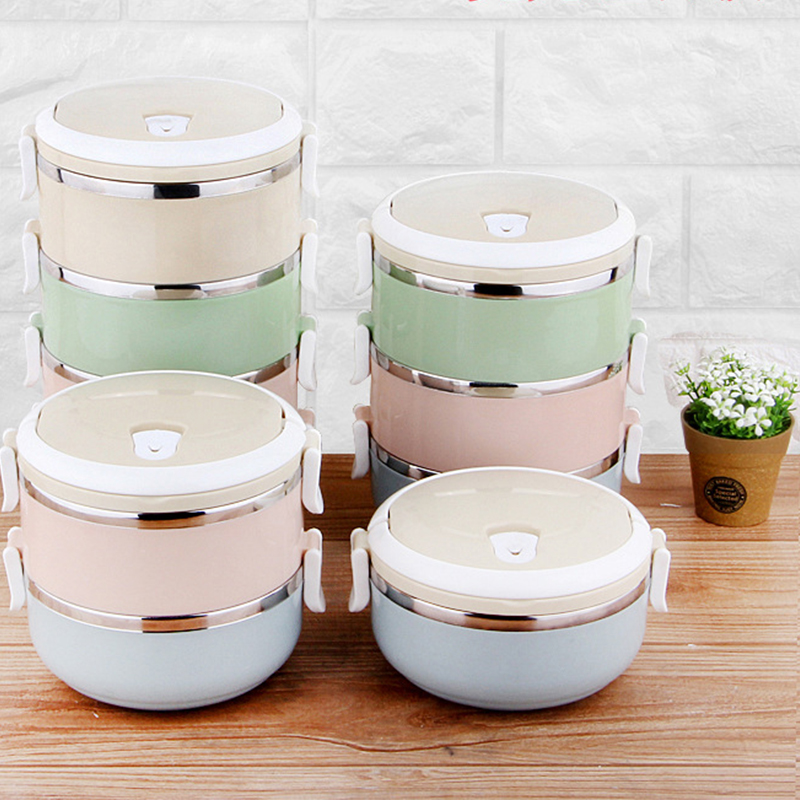 Stainless Steel Lunch Box Bento multi Color Seal Round Shape Portable Kids Food Container Picnic For Home Office School