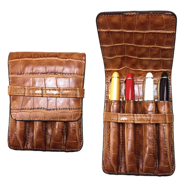 HIGH QUALITY LUXURY Crocodile Skin exquisite carving pattern PU BLACK ROLLER AND FOUNTAIN PENS CASE HOLDER FOR 4 PEN цены