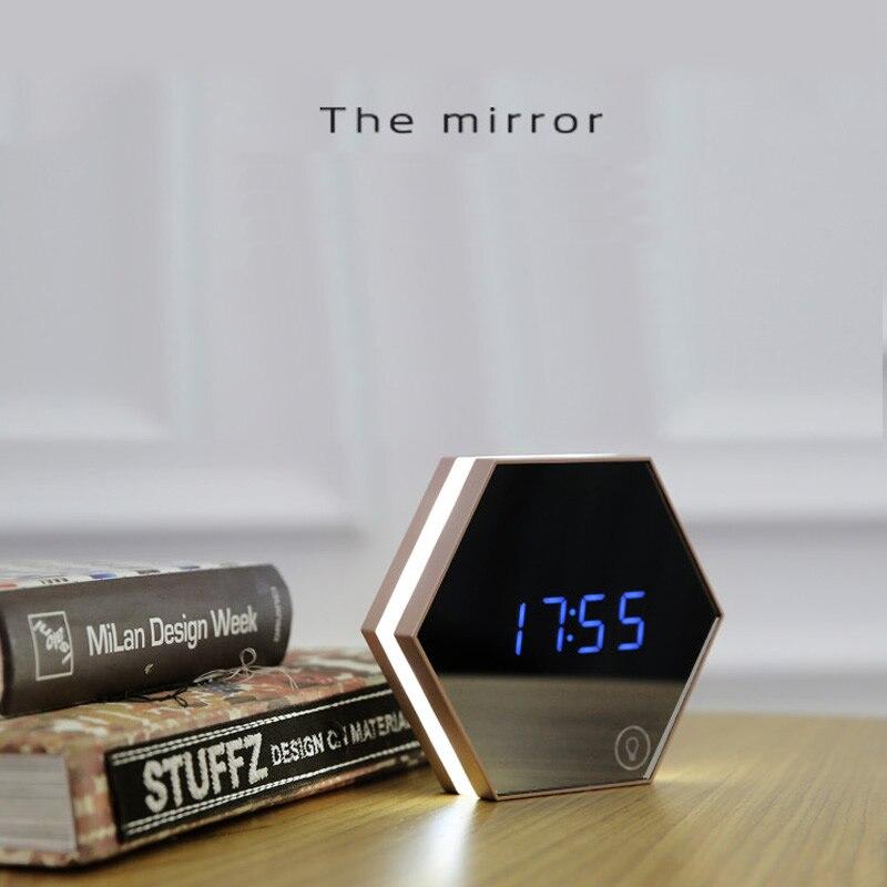 Creative multi-fonction miroir horloge élégant minimaliste lumineux chambre horloge nuit lumière tactile réveils