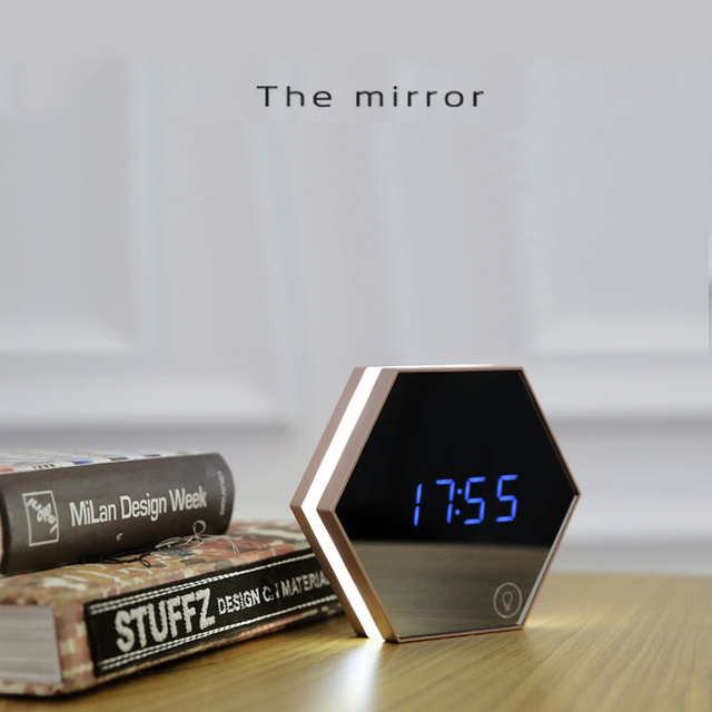 creative multi function mirror clock stylish minimalist luminous bedroom clock night light touch alarm clocks - Bedroom Clock