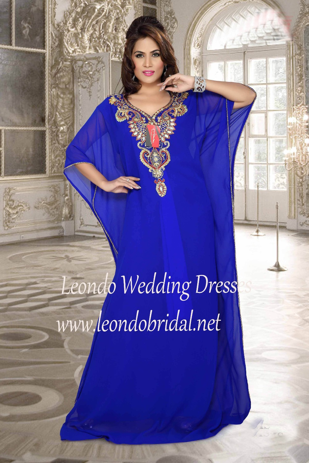 2015 Hot Sale Muslim Abaya Kaftan Scalloped Blue Three Quarter ...