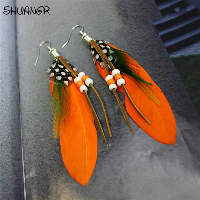 SHUANGR Hot sale Fashion Bohemia Charms Womens Vintage Dangle Earrings Exaggeration Feather Beads Big Drop Earring Jewelry 2017 4