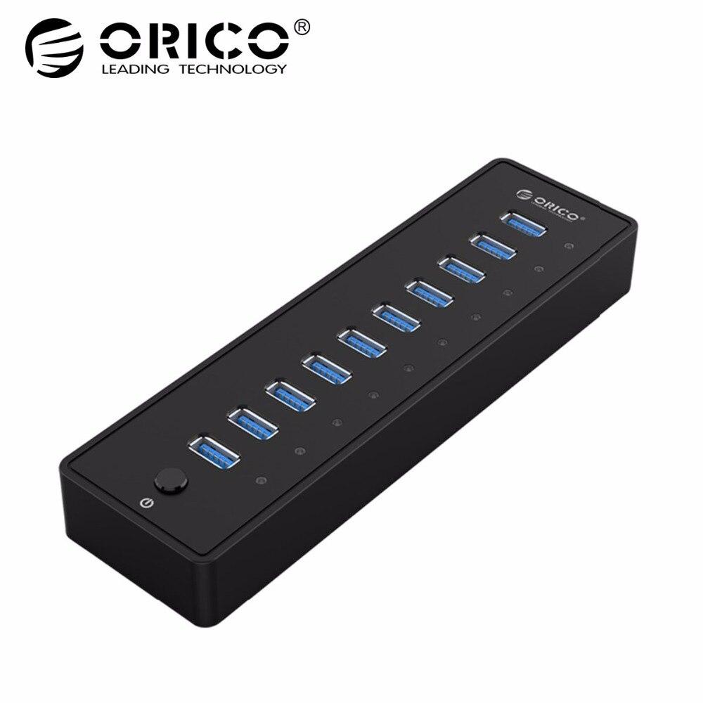 ORICO USB HUB3.0 Esterno 10 Porte USB Splitter con VL812 12V3A EU/UK Adattatore di Alimentazione per Finestre iMac Notebook del computer portatile HUB USB 3.0
