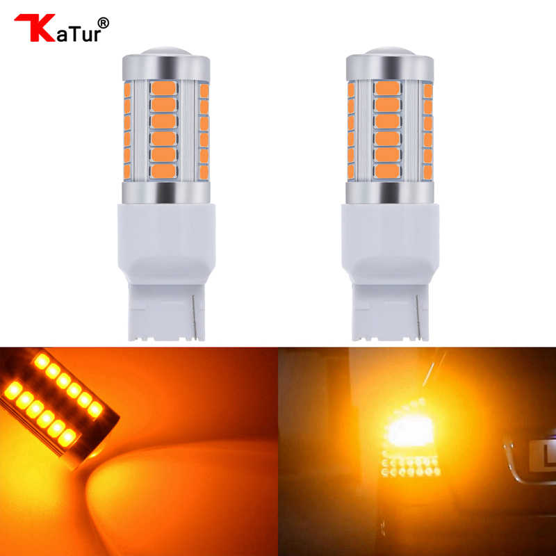 Katur 2pcs T20 7440 LED Bulbs For Cars Turn Signal Lights Amber/Orange Lighting White Red Blue 5630 33SMD Parking Led Lamps