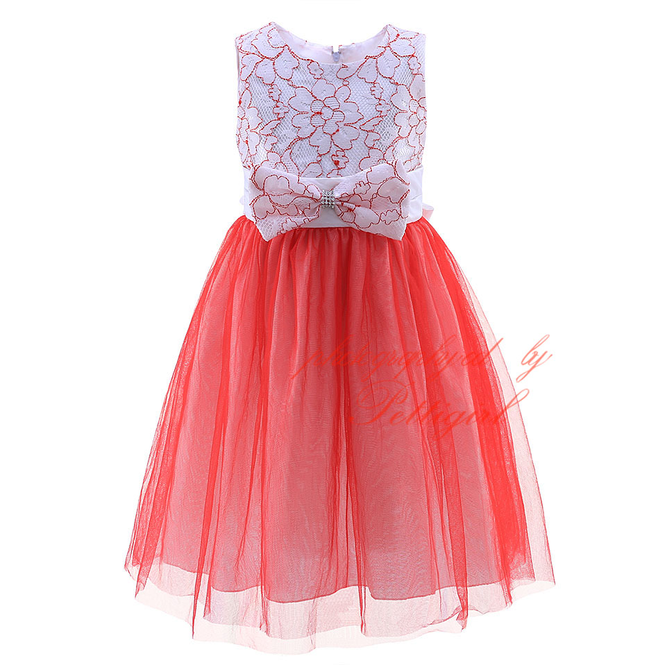 Pettigirl 2018 Red And White Flower Girl Dresses Bow Kids Clothing