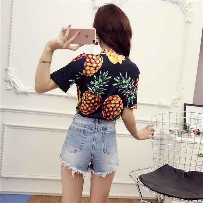 HTB1N.n4QVXXXXXvXpXXq6xXFXXX4 - Top Hot Sequined Print Pineapple Women t shirt Short Sleeve