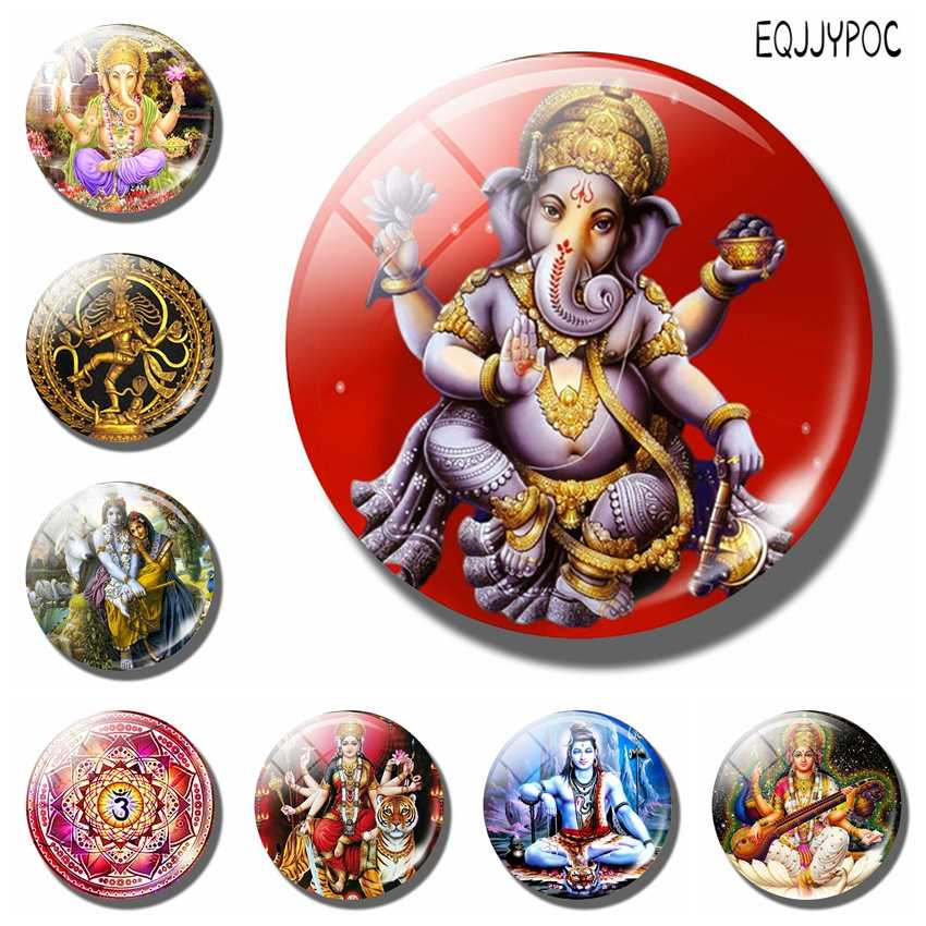 Lord Ganecha 30 MM Fridge Magnet Shiva Amulet Ganapati Ganesha Glass Dome Magnetic Refrigerator Stickers Hinduism Home Decor