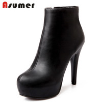 AISIMI 2015 New Arrive Women Boots Round Toe High Heels Platforms Fashion Ankle Boots Black Blue