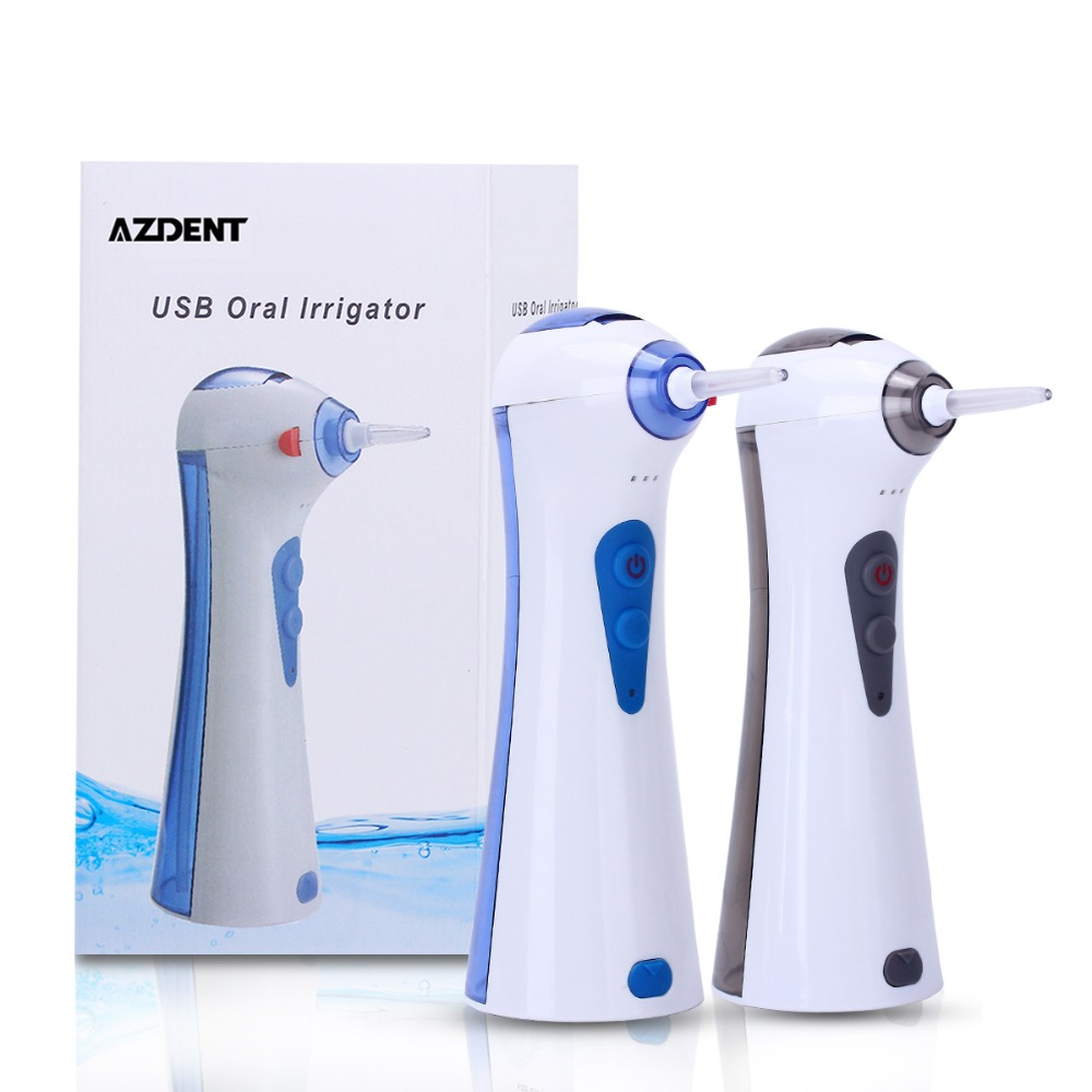 AZDENT USB Portable Oral Irrigator Water Powerful Flosser Dental SPA Water Jet Dental Flosser Teeth Cleaning Dental Irrigator azdent fashion 4 modes portable fold electric oral irrigator usb charging water dental flosser rechargeable 200ml 5 jet tips