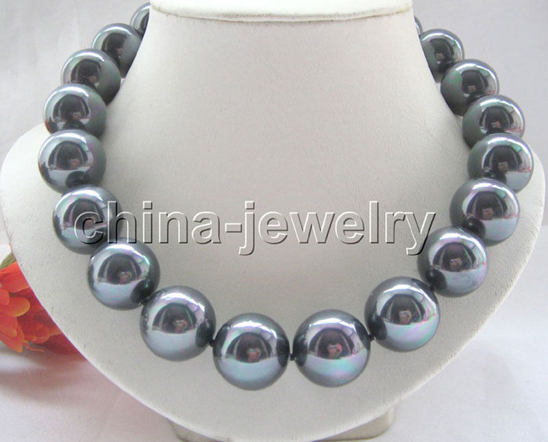 18 20mm natural bright black south sea shell pearl necklace