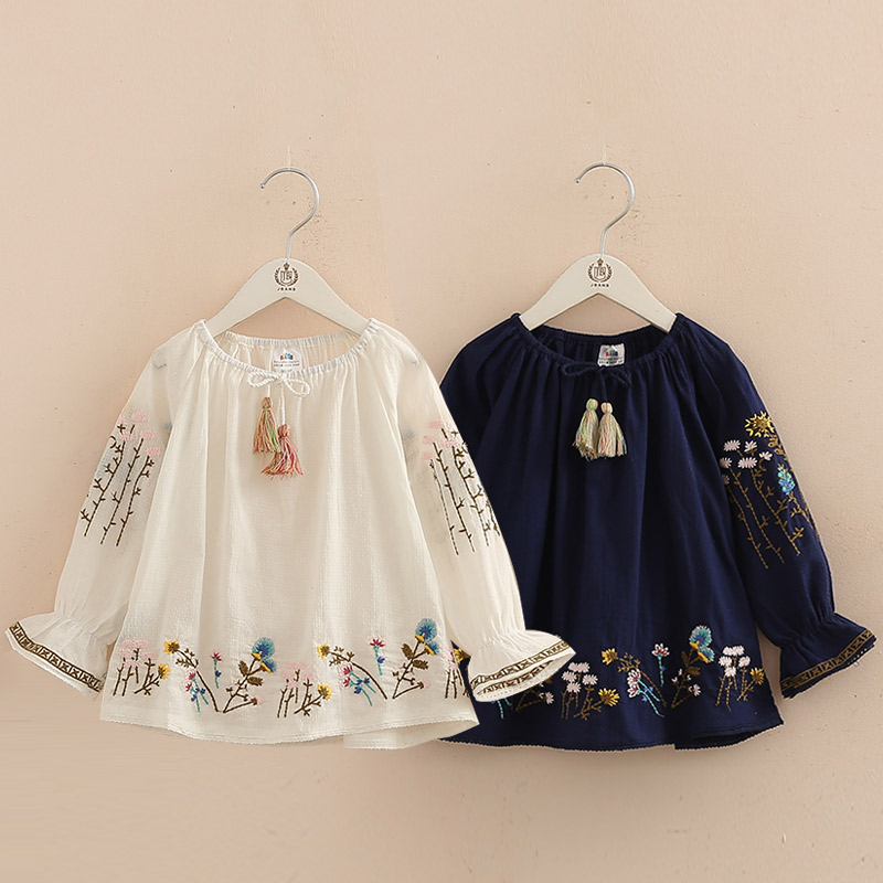 2018 Spring Autumn 2-10 Years Cotton Navy Blue White Long Flare Trumpet Sleeve Embroidery Baby Kids Girls Tassels   Blouses     Shirt
