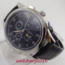 44mm PARNIS black dial leather Moon Phase Multifunction automatic mens watch