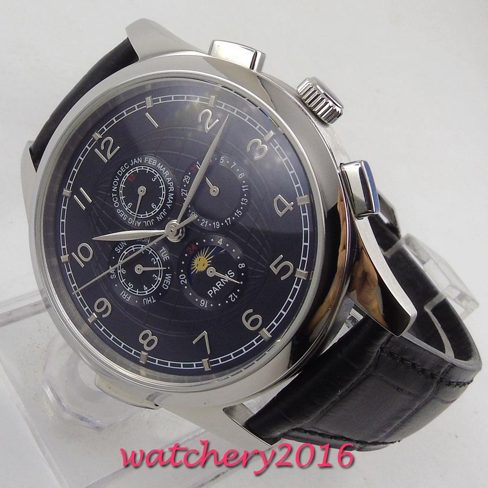 Saatler'ten Mekanik Saatler'de 44mm PARNIS siyah dial deri Ay Fazı çok işlevli otomatik erkek saati title=