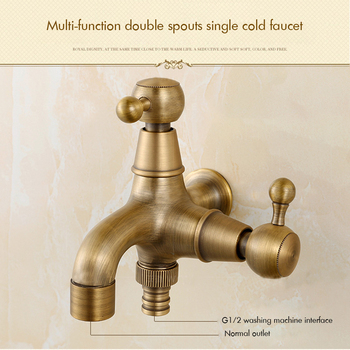 Antique Brass Double Spouts Laundry Bathroom Wall Mount Washing Machine Faucet Single Cold Tap Decorative Outdoor Garden Faucet bibcock faucet for outdoor garden brass antique bronze washing machine faucet wall mounted bathroom tap toilet cold bibcock