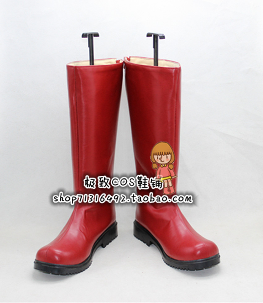 One Punch homme Caped Baldy Hero Sensei Saitama Cosplay rouge chaussures longues bottes X002