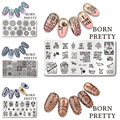 5Pcs/set BORN PRETTY 12*6cm Rectangle Nail Stamping Template Manicure Nail Art Image Plate Decoration Tool L051-055