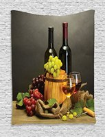 Winery Decor Tapestry Barrel Bottles And Glasses Of Wine And Ripe Grapes On Wooden Table Decorative Picture