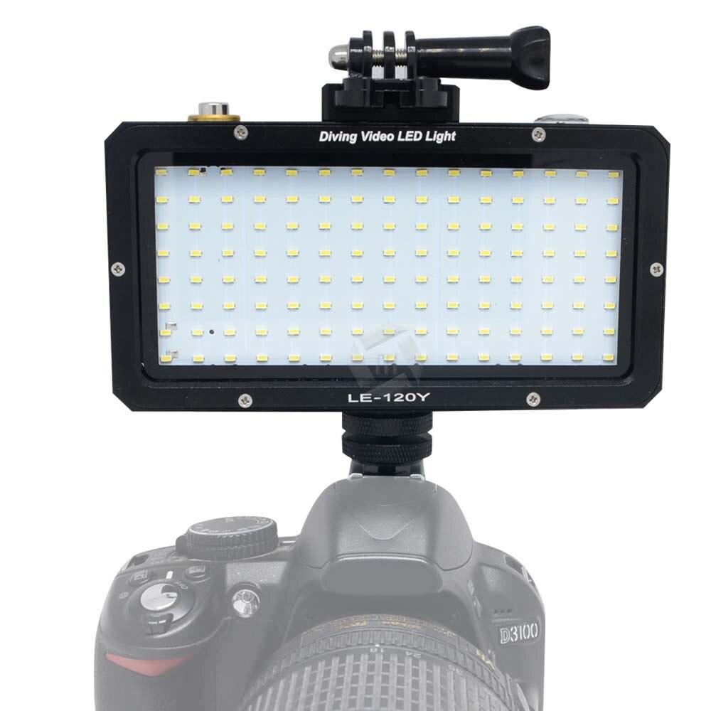 Mcoplus LE-160Y 25 M/82ft 5500 K 2000LM plongée sous-marine étanche vidéo lumière LED pour caméra numérique Gopro hero caméra