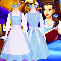 Beauty and the Beast Belle Maid Dress Maid Cosplay Costume Women Blue Full Set Dress ( Shirt + Dress + Apron + Headwear )