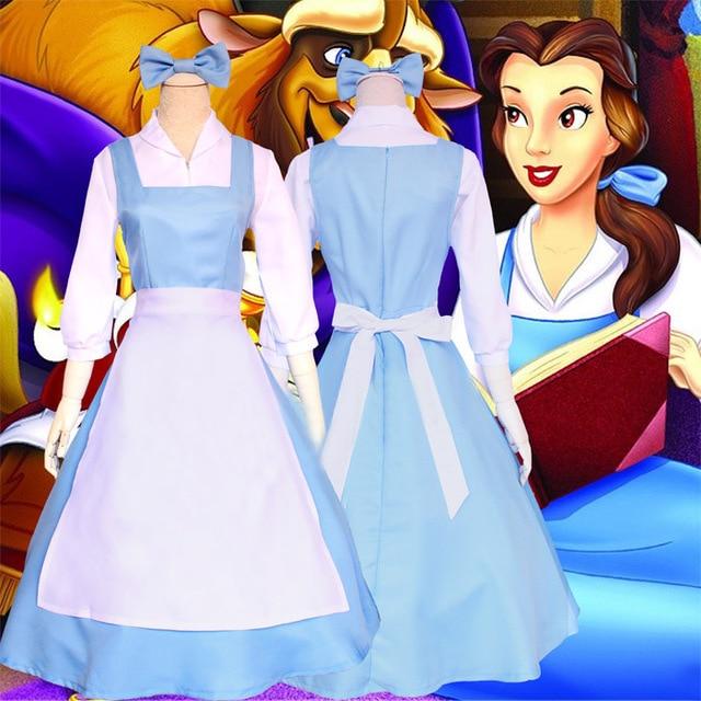 Beauty and the beast belle empregada doméstica vestido cosplay traje feminino azul conjunto completo vestido (camisa + vestido + avental + headwear)