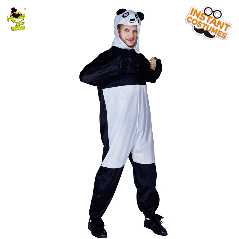 2018 New Mens Panda Pajama Masquerade Animal Costumes Panda Sleepwear Onesize Coverall Jumpsuits For Adult Man