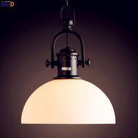 IWHD американская нордическая лампа винтажное промышленное освещение стеклянный абажур Edison светодиодный подвесной светильник