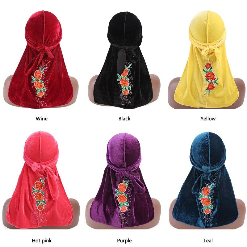 Women velvet durag Turban rose flower pattern headwrap doo do rag Bandanas Headwear Headband Hair Cover Accessories Waves Cap