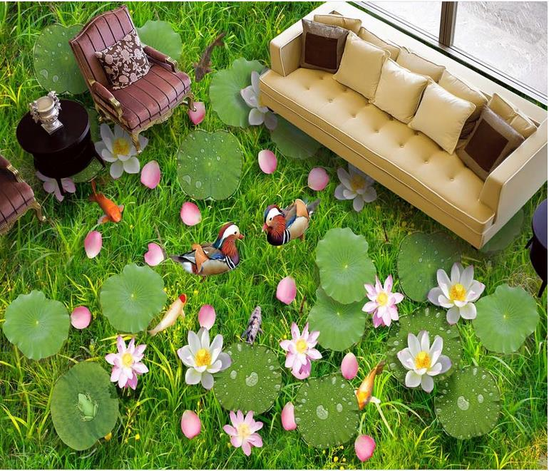 custom 3d flooring Water grass pond floor pvc self adhesive wallpaper living room wallpapers 3d flooring waterproof wall paper japanese style wallpapers for living room 3d flooring wood wall paper pvc living walls wallpapers roll 3d wall murals wallpaper