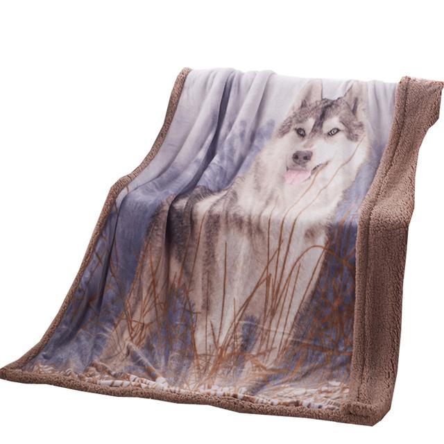 3d Wolf print Blanket double face cashmere plaid 130*160cm super soft blankets