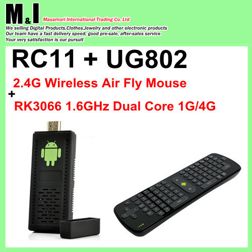 Hot sales!RC11 2.4G Wireless Air Fly Mouse Keyboard for Android mini PC+UG802 mini pc android 4.0 RK3066 1.6GHz Dual Core 1G/4G