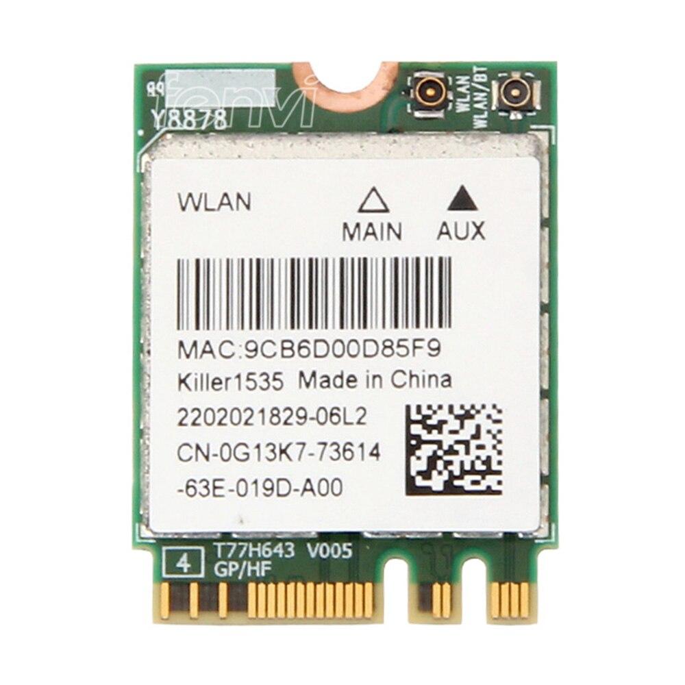 Fenvi Pour Bigfoot Tueur Sans Fil-AC 1535 Atheros QCNFA364A NGFF Double bande Killer1535 802.11ac M.2 Sans Fil Carte + Bluetooth 4.1