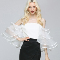 ea66ada15 Sexy Perspective Strapless Mesh Ruffles Chiffon Blouses Backless Flare  Sleeved Stitching Gauze Shirts Off Shoulder Pleated