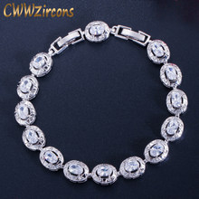 CWWZircons 2019 Newest Design Round Cut Silver Color Cubic Zirconia Crystal Fashion Ladies Bracelet for Women Gift CB027(China)