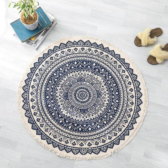曼荼羅ラウンド床敷物リビングルームの寝室のカーペットドアマット飾る家エリア綿ハンドメイド自由奔放に生きる敷物