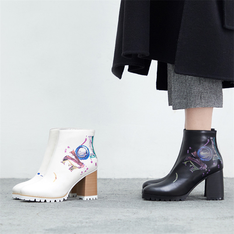 Image 5 - FEDONAS Fashion New Women Prints Ankle Boots High Heels Zipper Night Club Party Shoes Woman Punk Autumn Winter Basic Boots Pumps-in Ankle Boots from Shoes