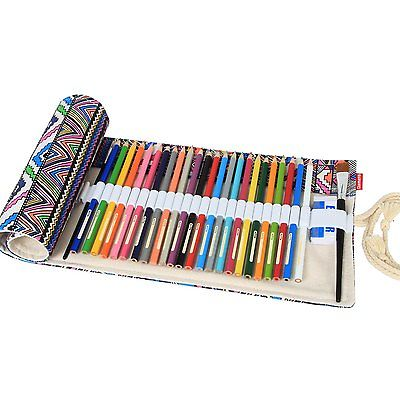 Bohemian Style 36/48/72-hole Canvas Color Pencil Wrap Roll Hold Pouch Hand Made Pens, Pencils & Writing Supplies Pencil Cases & Bags