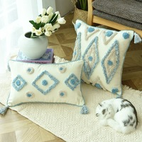 Boho Style Handmade Cushion Cover Plush Blue Diamond with Cute Circle Moroccan Colorful Pillow Cover 45x45cm Home Decorative