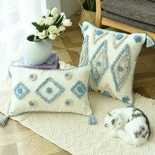 Styl Boho ręcznie robiona poszewka na poduszkę pluszowy niebieski diament ze ślicznym kółkiem marokańska kolorowa poszewka na poduszkę 45x45cm strona główna dekoracyjna