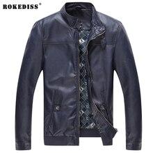 ROKEDISS 2017 PU Jackets Men's Clothes Spring Autumn Coats Men Outwears Brand Clothing Business Men's Jacket 3XL W009