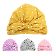 Sweet Dot Baby Girl Hat with Bow Candy Color Turban Cap for Girls Elastic Infant Accessories
