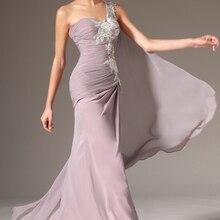 Вечерние платья размера плюс, шифоновое кружевное длинное вечернее платье русалки на одно плечо с аппликацией, платья для выпускного вечера, Robe De Soiree