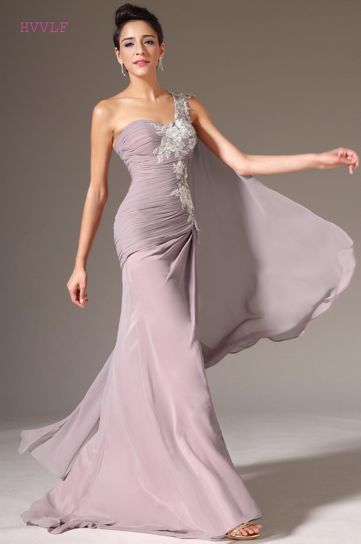 Plus Size Evening Dresses Mermaid One-shoulder Chiffon Lace Appliques Long Evening Gown Prom Dresses Robe De Soiree