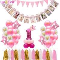 Heronsbill 12 marco de fotos de meses cartel brillante decoración para fiesta de primer cumpleaños 1er bebé niño niña mi 1 año guirnalda suministros