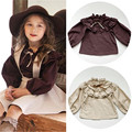 Luxurious Princess Baby Girl Shirt Romantic Frills Collar Child Girl Blouse Shirt Girl Lantern Long Sleeve Shirt Fashion Kids Cl