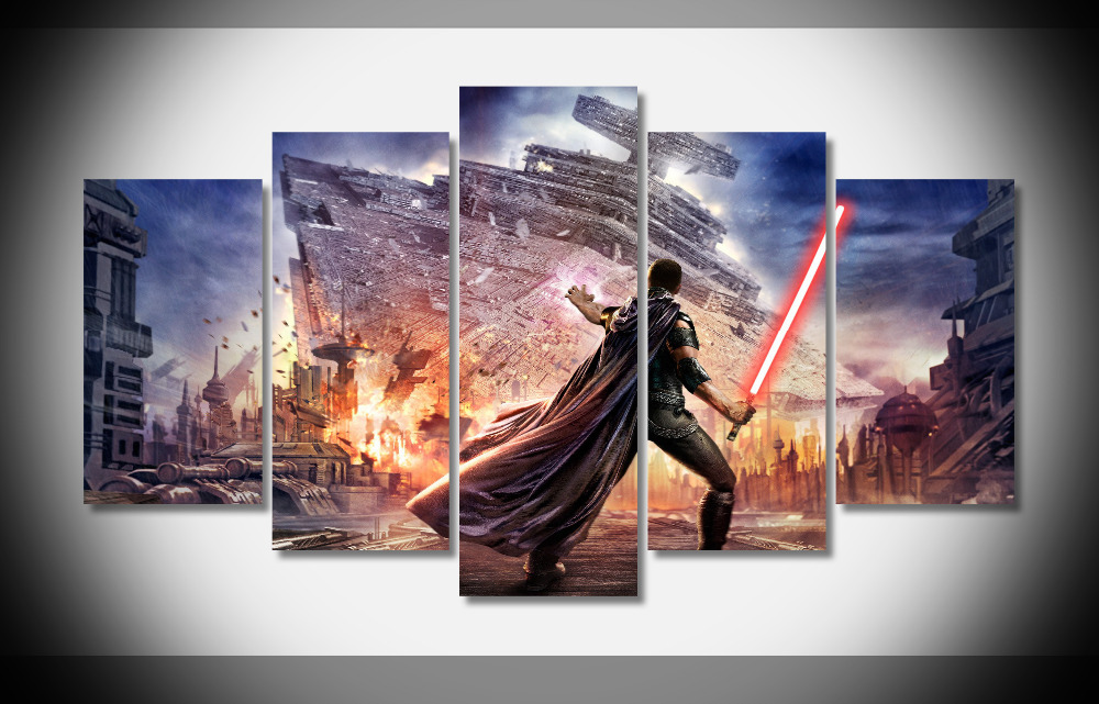 3934 Star Wars The Force Unleashed Red Lightsaber Spaceship WallpapersByte poster Framed Gallery wrap art print home wall decor