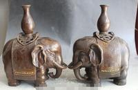 S00234 11 China Bronze Elephant Incense Burner Censer Flower Vase Bottle Statue Pair (B0413)