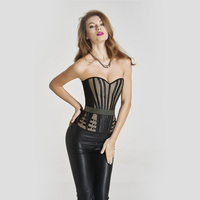 Fashion Women Corset 2016 Black Brown Plus Size Sexy Simple Style Stripe Satin Wedding Dress Shapewear